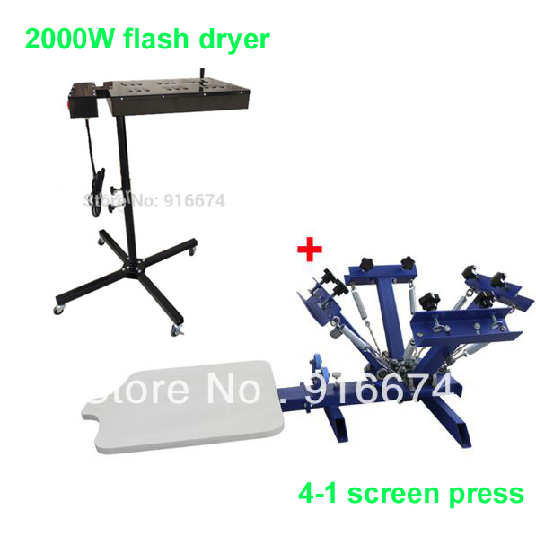 FAST FREE shipping 4 color 1 station silk screen printing machine + 2000W flash dryer t-shirt printer press equipment carousel simple screen printing machine single color silk screen press equipment