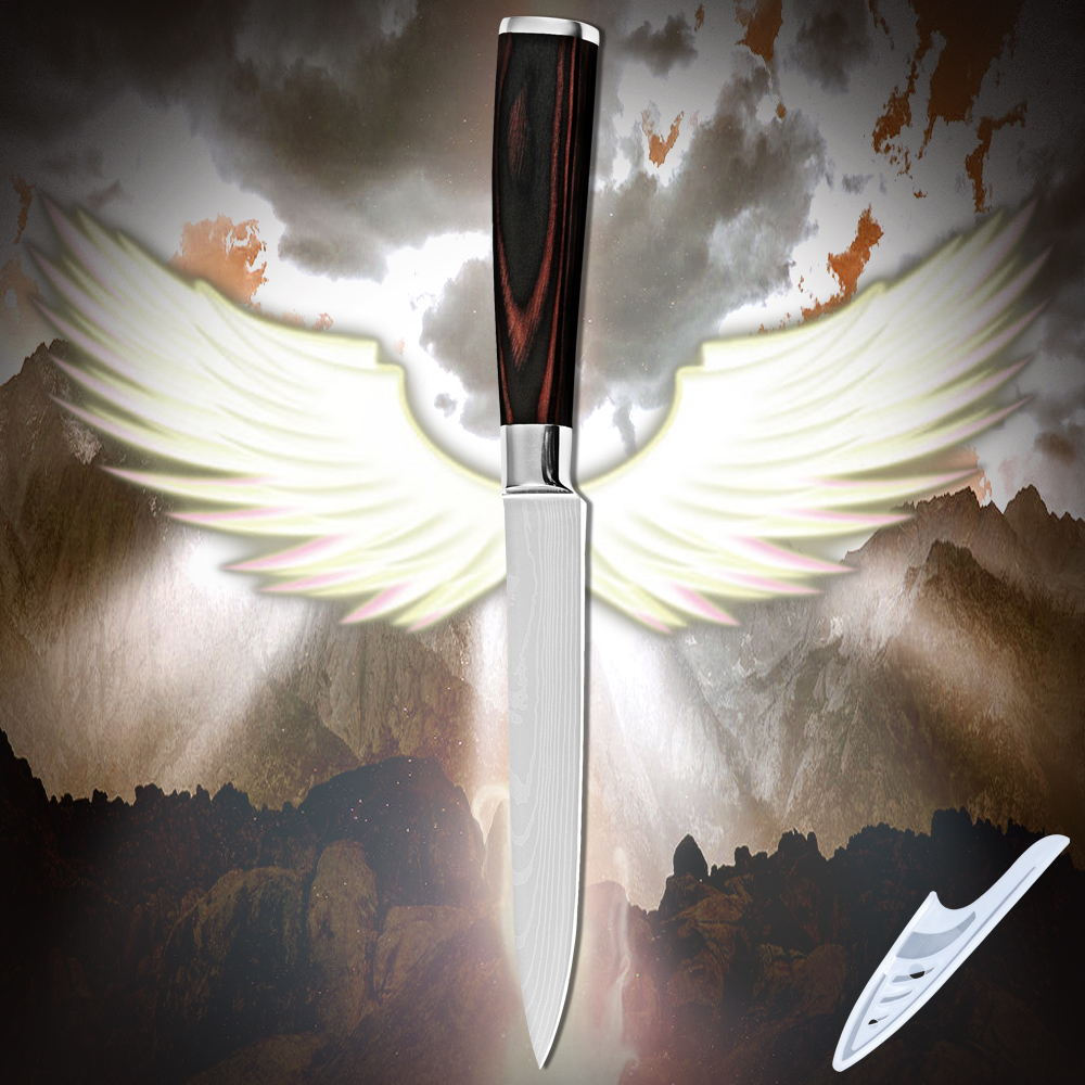Utility knife 5 inch high quality stainless steel kitchen knife Damascus pattern pakka wood handle top