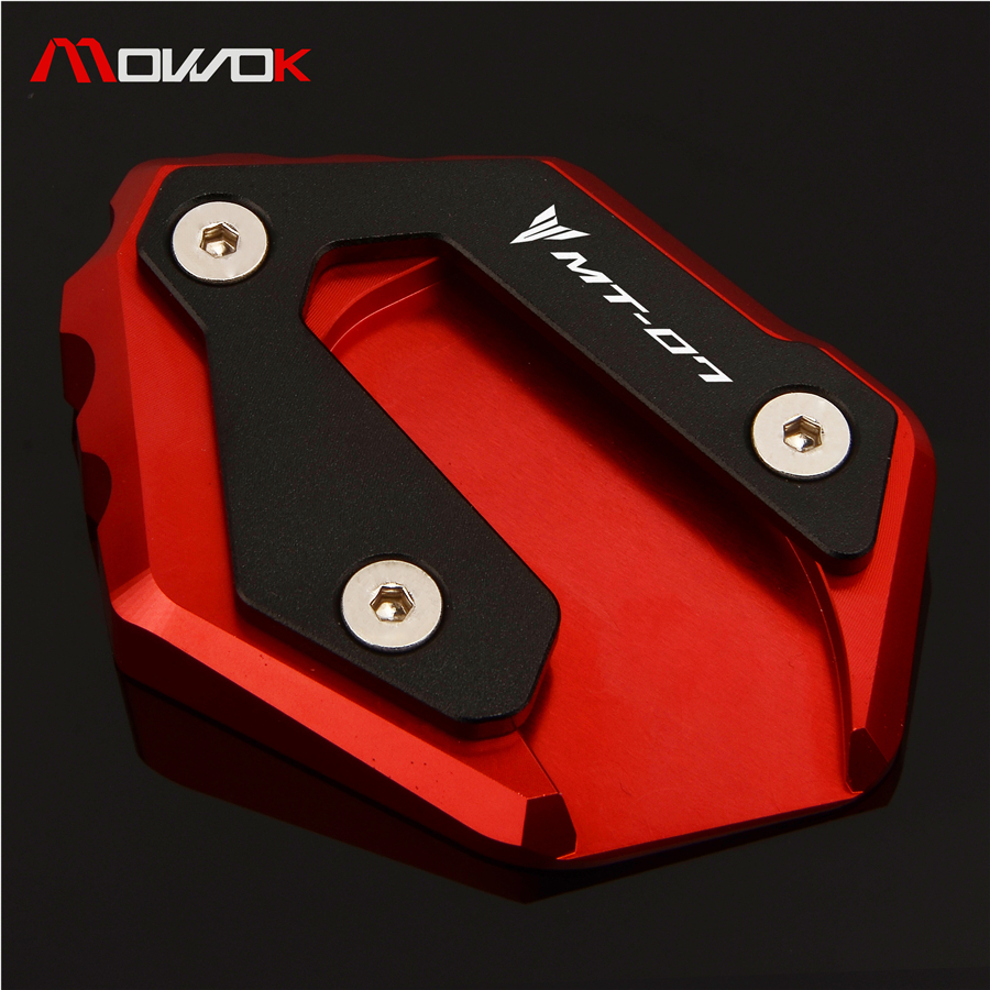 High Quality Stands For YAMAHA MT07 MT 07 2014-2018  CNC Aluminum Side Stand Kickstand Extension Enlarger Plate Logo MT-07