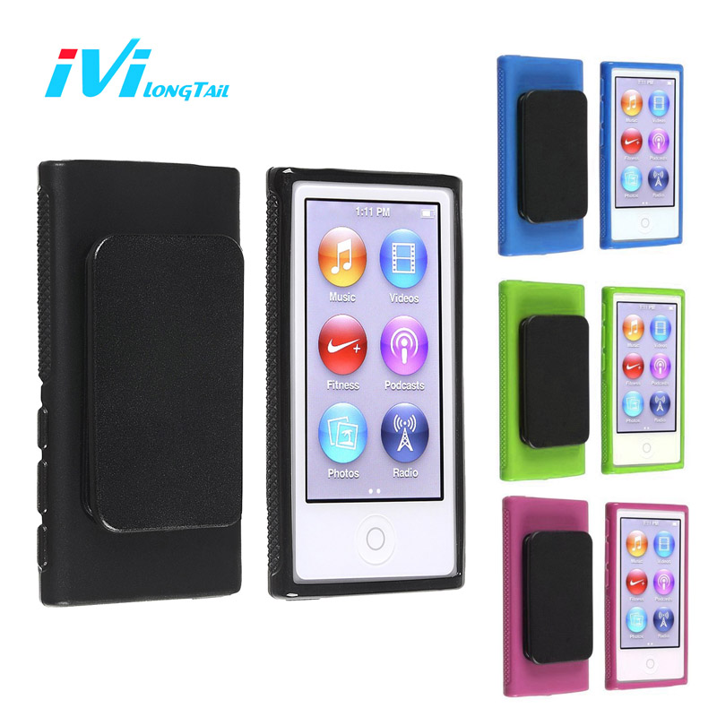 Belt Clip Case for iPod Nano 7 Case Cover Sport TPU Silicone Soft Cases Covers Outdoor Black Blue Green Rose for iPod Nano 7th