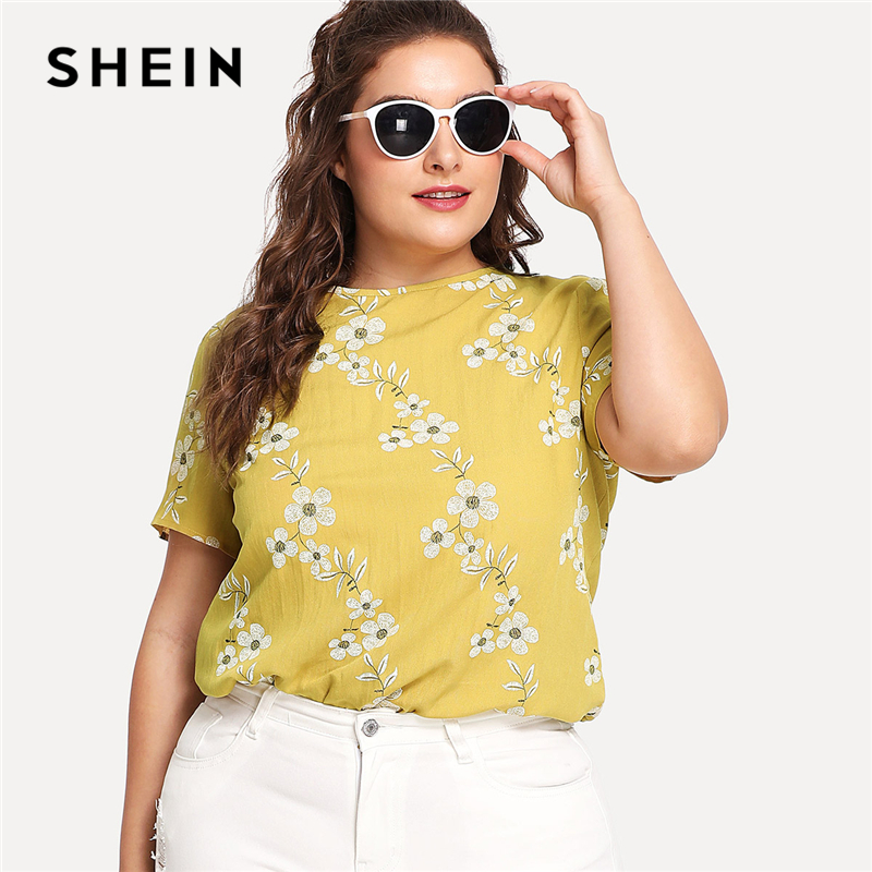 SHEIN Button Keyhole Back Blossom Print Top 2018 Round Neck Short Sleeve Floral Print Youth Top Women Plus Size Preppy Blouse