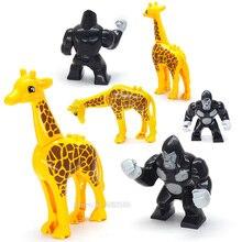 Legoinglys Animal Forest City Series Building Blocks Piece Lot Model Orangutan Giraffe Figures Visiting The Park Moc Gift Toy