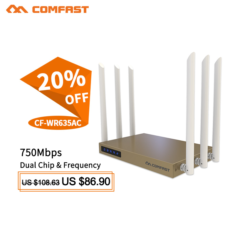 COMFAST High Power 802.11AC wireless wifi router 750Mbps Wifi access point Amplifier routers with 6*6dBi signal booster antennas набор ковриков для ванной modalin karla 60x100 60x50 см 1160080 page 9