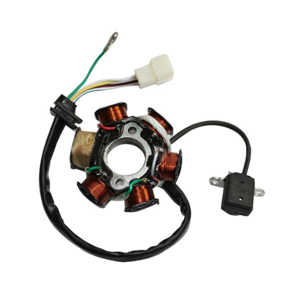 GOOFIT 6-Coil Magneto Stator G/én/érateur dallumage pour GY6 50cc 70cc 90cc 110cc 125cc Cyclomoteur ATV Dirt Bike Bobine pleine onde
