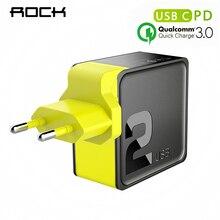 ROCK PD + QC 3,0 FCP Dual USB зарядное устройство 36 Вт Quick Charge EU US PD Тип C путешествия Быстрая Зарядка адаптер 30 Вт модуль power Bank зарядное устройство