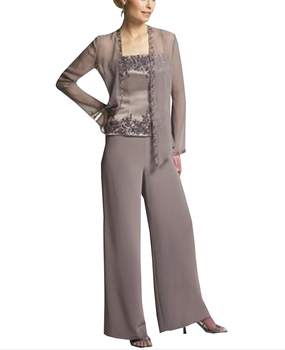 women elegant 3 pieces Appliques Embroidery Satin Chiffon mother of the bride dress pants suit long sleeves for wedding groom 2