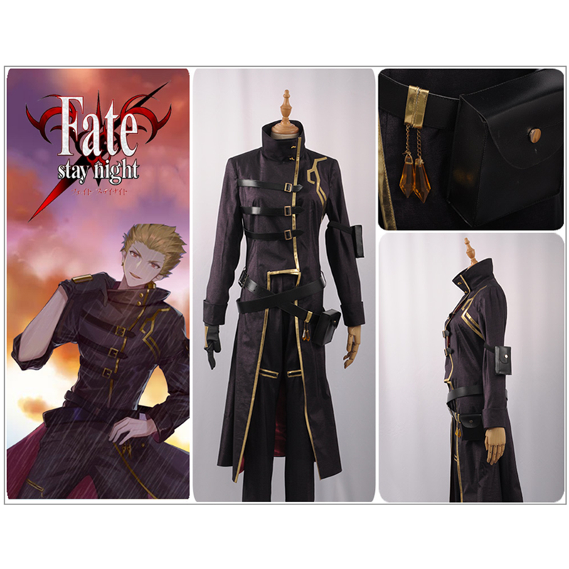 Fate//stay night Gilgamesh Archer cosplay Male Leather Jacket uniform Tops coat