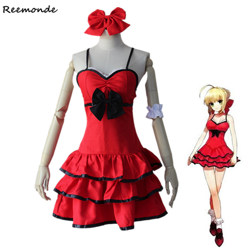 Anime Fate/Grand Night Extra Cosplay Costumes Saber Princess Dress Skirt Blonde Synthetic Wigs For Women Girls Party Clothing