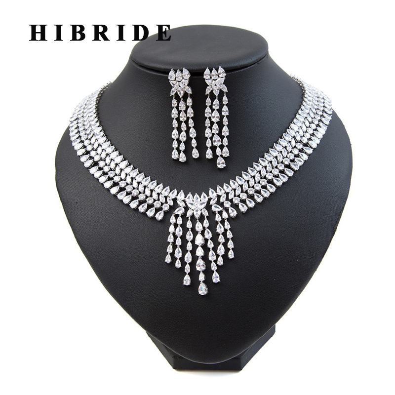 HIBRIDE New Shiny Water Drop Cubic Zirconia Pendant Necklace Earrings Sets Women Wedding Bridal Jewelry Set N-212 hibride luxury top quality white green water drop shape cubic zirconia jewelry sets white gold color necklace earrings n 057
