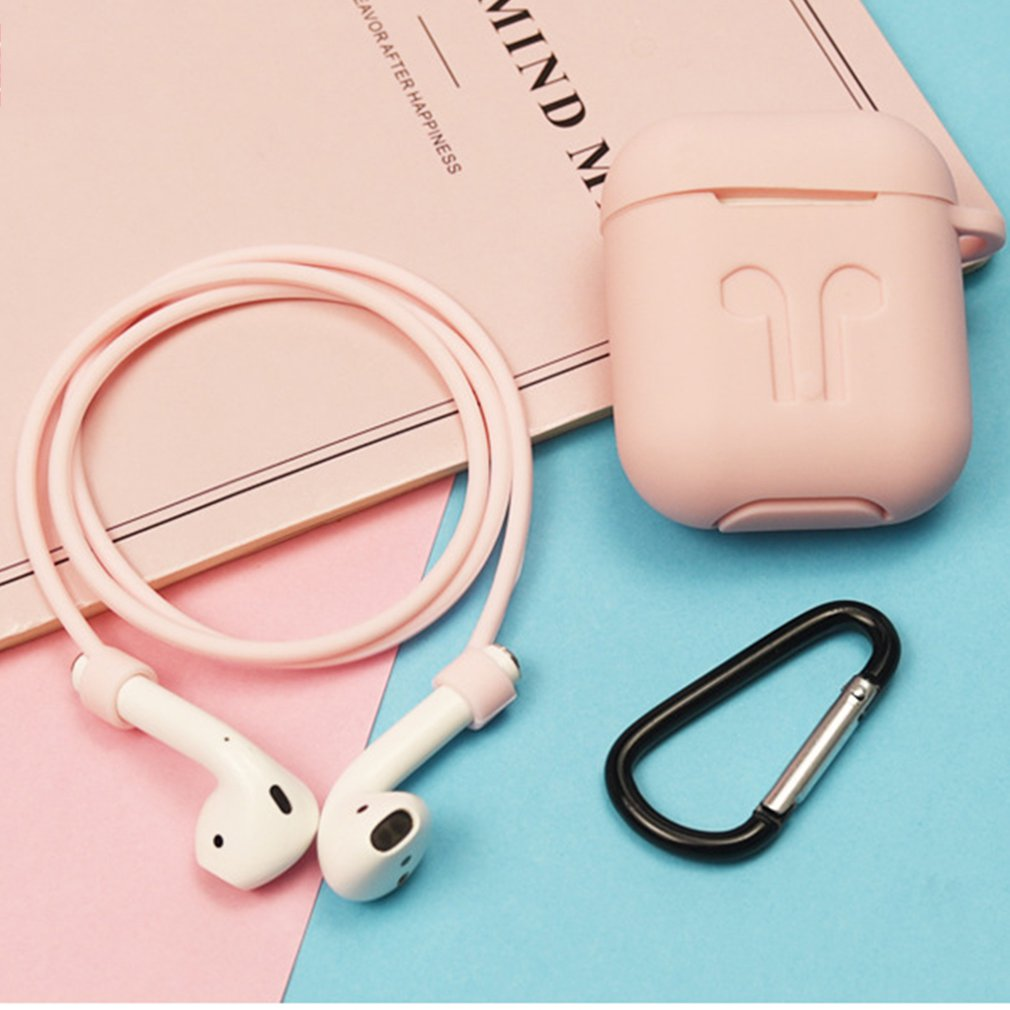 Silicone Cover For Airpods Protective Case Anti-lost Wire Eartips Strap Holder For Apple Air Pod Wireless Headset Accessories