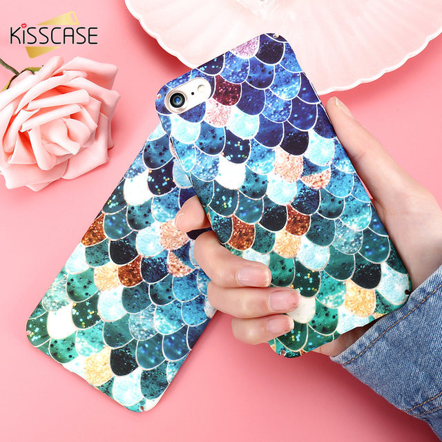 KISSCASE Luminous Phone Case For iPhone XS MAX XR Cover Mermaid Scale Squama Glowing Cases For iPhone 6 6S 7 8 Plus 5S SE Shell