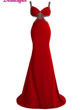 KapokBanyan Real Photo Red Chiffon Sweetheart Prom Dress Fashion Spaghetti Strap Party Dresses 2017 Crystal Robe de soiree