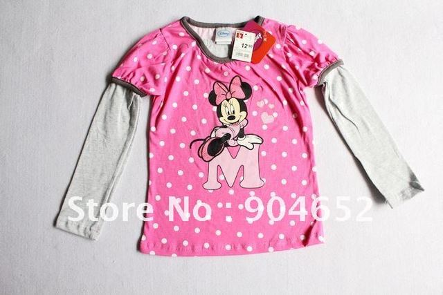Brand new mickey t-shirt 100% cotton girl's long sleeve t shirt. children clothes very soft 10pc/lot  two colors free shipping