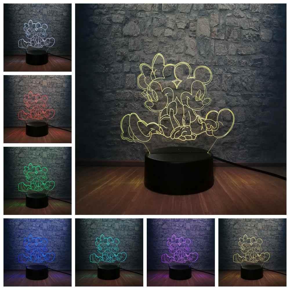 Ragazze del fumetto 3D di Mickey Minnie Del Mouse HA CONDOTTO LA Lampada 7 Colori Cambiamento USB Teenager Arredamento Della Camera del Bambino di Sonno Lampada Da Tavolo Per Bambini regalo di giorno del Giocattolo