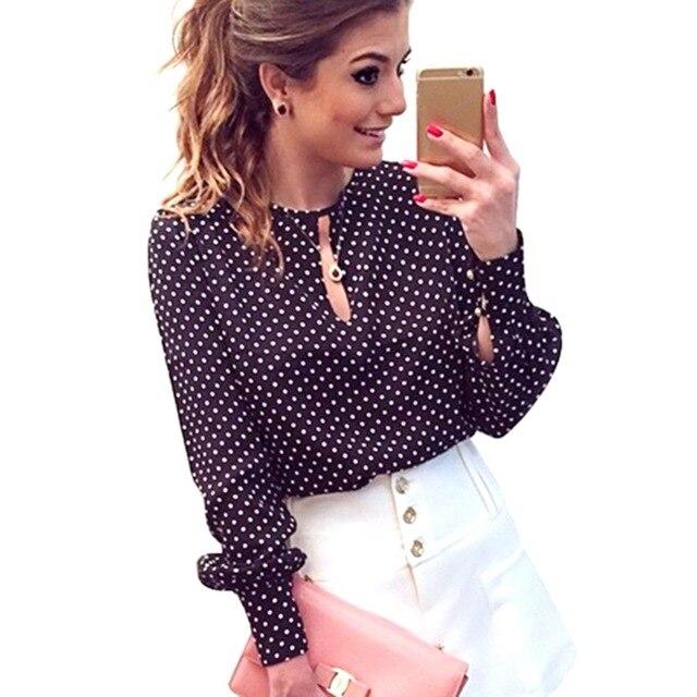 Fashion Women Long Sleeve Bluse Top Hollow Shirt Open Size Slit Casual O Blusas Chiffon Blouse Plus Dots Neck Tops Polka Sexy