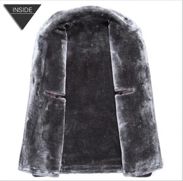 New men's suits collar pu fur coat Winter leather jacket men's motorcycle leather plus velvet thickening