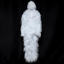Snowfield Sniper Ghillie Bionic Suit Kit 3D Leaf White Ice Snow Jungle Hunting Birding Outdoor Coveralls for Winter Hunting(China)