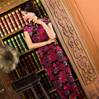 SexeMara Vintage Elegant Women Cheongsam Dress Velvet Cheongsams Long Qipao China Chinese Traditional Dress Clothes for Women