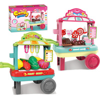 Baby Cosplay Pretend Play Toy Plastic Kids Educational Kitchen Toys Set Sweet Candy BBQ Fruit Shop Simulation Trolley Shop Doll