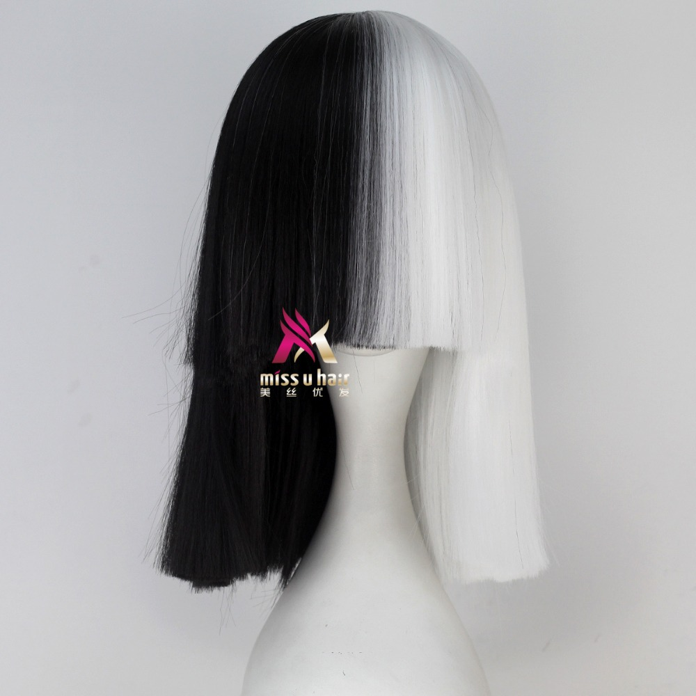 new Sia Kate Isobelle Furler Synthetic Short Ombre Hair Women Straight SIA Wig Cosplay Black Blonde Bob Wigs For Party