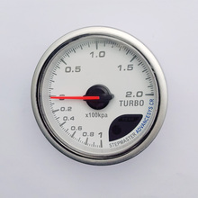 2.5'' 60MM Turbo Boost Gauge White Face CR Advance Boost Turbo Meter/sensor with Red & White Lighting Auto Gauge Car Meter