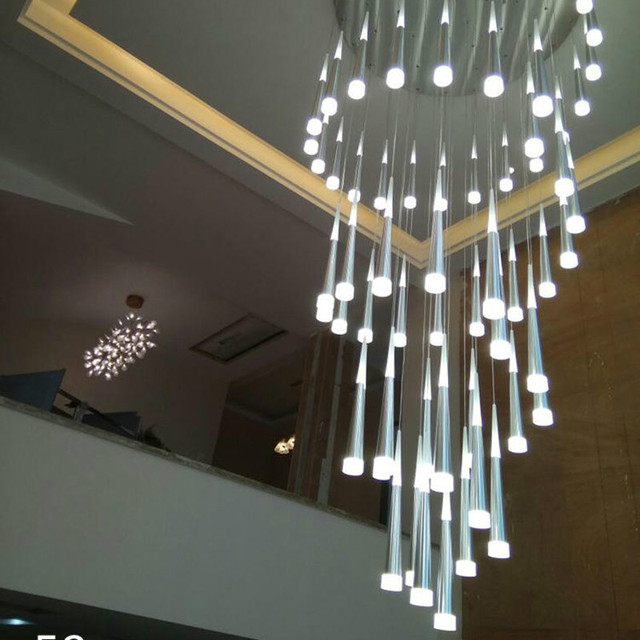 Villa stairwell Led cone light hanging Chandelier for penthouse helical led Light grand hall suspension led Luminaria Pendientes