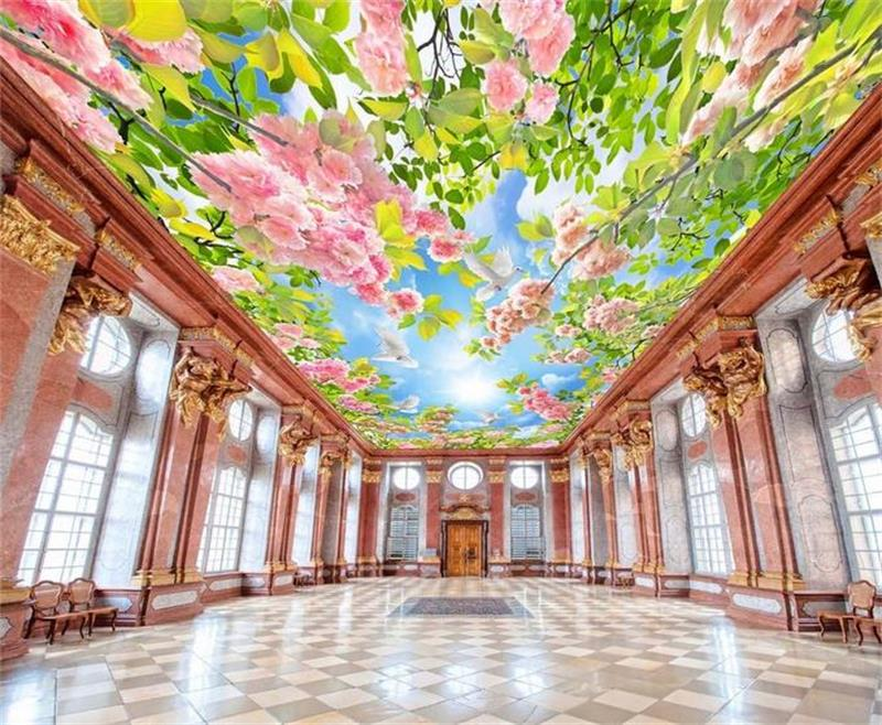 custom photo 3d ceiling wallpaper non-woven Large HD flowers leaves decoration painting 3d wall mural wallpaper for walls 3d ceiling non woven wallpapr home decoration wallpapers for living room 3d mural wallpaper ceiling customize size