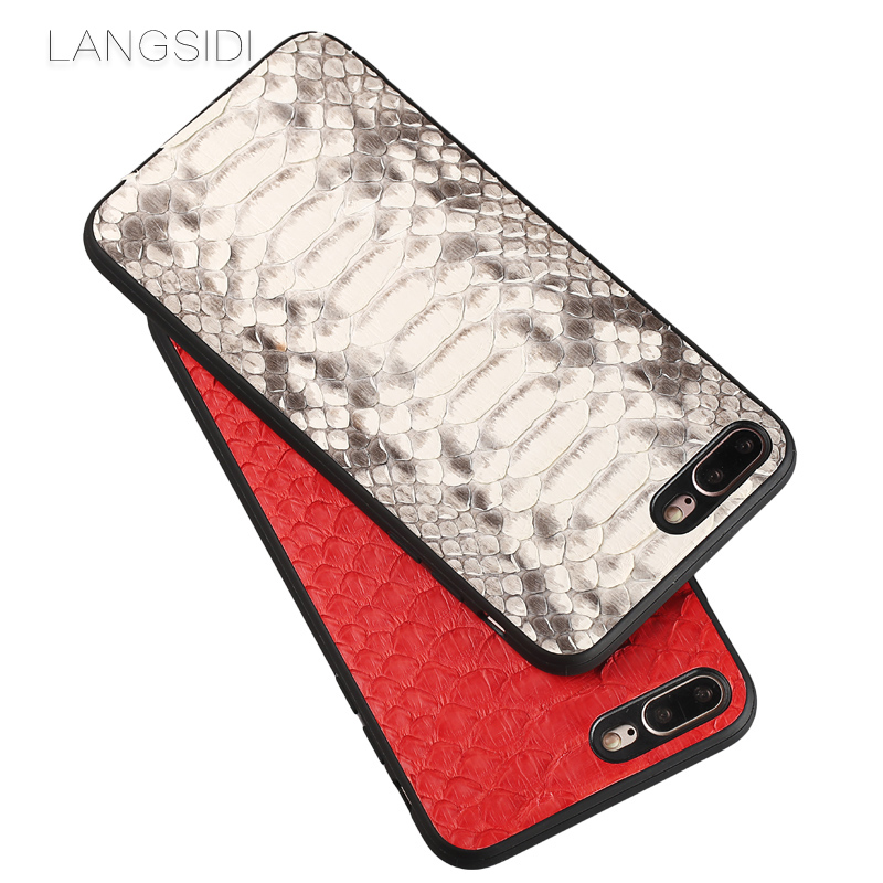 wangcangli phone case For iPhone 7 Real Calf leather Back Cover Case/natural python skin Leather Case|Fitted Cases| |  - title=