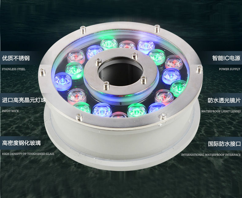 Free shipping IP68 RGB LED fountain light 6W 9W 12W 15W 18W LED pool light Led underwater light 9W 12V 24V AC