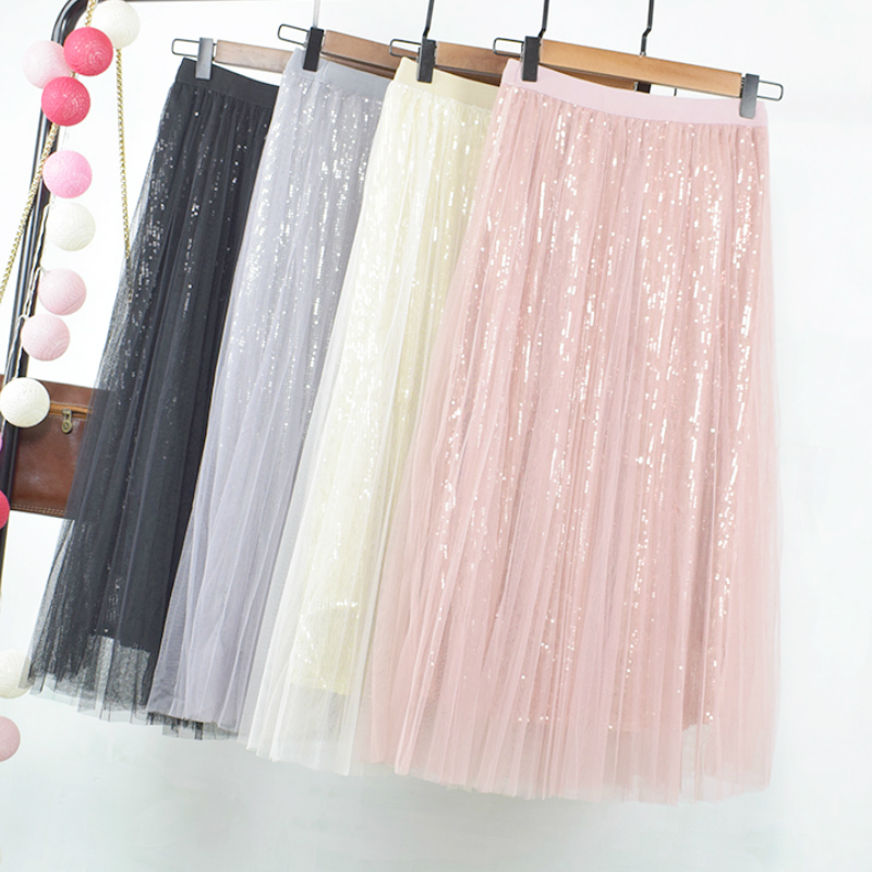 Long Sequined Tulle Skirts Elastic Waist Sequins Metallic Layered Mesh Mid Calf Long A-line Skirts Pink Silver Ivory Skirts(China)