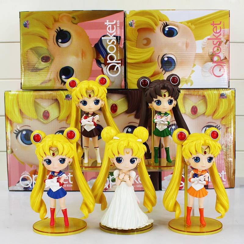 Q Posket Sailor Moon Figure Princess Serenity Tsukino Usagi Queen Jupiter Venus Pluto Figures Toys PVC Dolls 15cm 5Styles 6pcs set anime cartoon sailor moon tsukino usagi tuxedo mask sailor venus mercury mars jupiter pvc action figure model toy