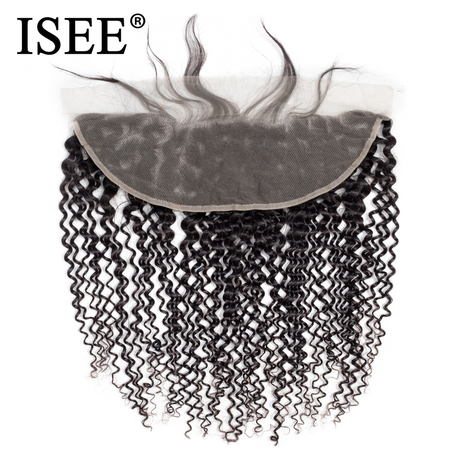 ISEE HAIR Mongolsk Kinky Curly Lace Frontal Closure 13 * 4 Swiss Lace Hair Extension Remy Menneskehår Natur Farve Gratis Levering