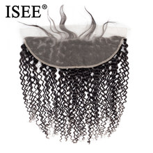 Extensions cheveux mongole Remy naturels 13x4-ISEE HAIR, cheveux crépus-bouclés, couleur naturelle, swiss lace frontal closure, livraison gratuite