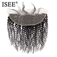 ISEE HAIR Mongolian Kinky Curly Lace Frontal Closure 13*4 Swiss Lace Hair Extension Remy Human Hair Nature Color Free Shipping