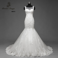 PoemsSongs Real Photo 100 Sweetheart Applique Beaded Strapless Mermaid Wedding Dress Customer Made Chapel Train Back