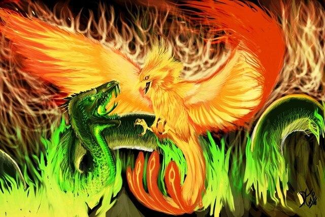 phoenix vs basilisk dragon and fire flame monster creature fantasy ...