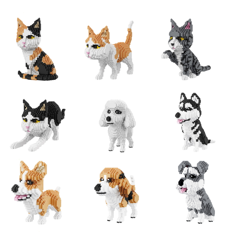 Finger Rock Diamond Building Blocks Cat Dog Model 1000+pcs Educational Puppy Building Bricks Enlighten Children Blocks DIY Toys enlighten 1118 building blocks ambulance model blocks 328 pcs diy bricks compatible legoa city building blocks toys for children