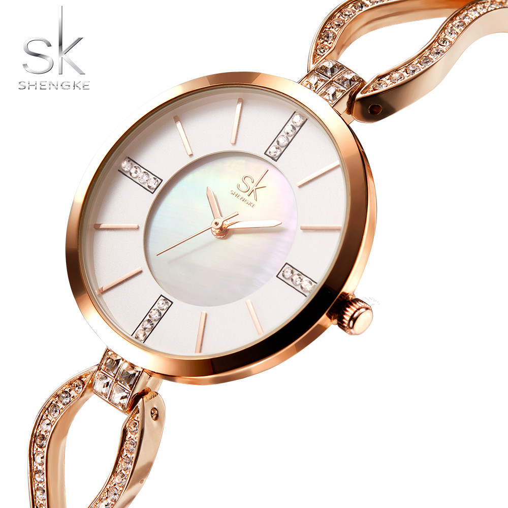 Shengke Luxury Diamond Top Brand Women's Watches SK Bracelet Wrist Watch Women Watches Rose Gold Ladies Watch Clock reloj mujer kimio brand bracelet watches women reloj mujer luxury rose gold business casual ladies digital dial clock quartz wristwatch hot