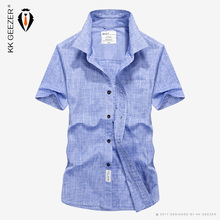 2018 Casual Shirts Men Summer Business Office Cotton Spring Slim Short Sleeve Dress Shirt Blue Loose Tooling Army Military Sweat