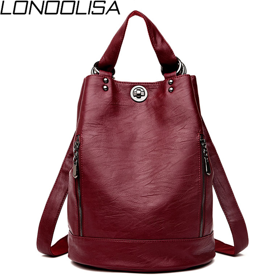 LONOOLISA 3-in-1 Women Leather Backpack 2019 Hot Female Bagpack Ladies Travel Back Pack School Bags For Teenage Girls Sac A Dos