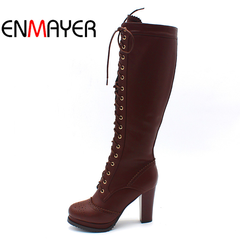 ENMAYER Winter Boots Shoes Woman High Quality Sexy Women Thigh High Boots Lace Up Knee Boot High Heel Retro Knight Boots cicime summer fashion solid rivets lace up knee high boot high heel women boots black casual woman boot high heel women boots