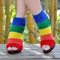 Rainbow Short Botines Peep Toe Abierto Tacones Multi-Color de Las Señoras Bombas de Tacón Alto de Tamaño 12 Zapatos de Las Mujeres de Las Señoras sandalia