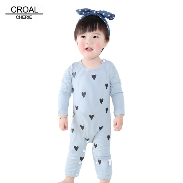 0-24 Months High Quality New Born Baby Girls Boy Romper Clothes Cute Heart Cotton Girls Long Sleeve Jumpsuit Pink Blue