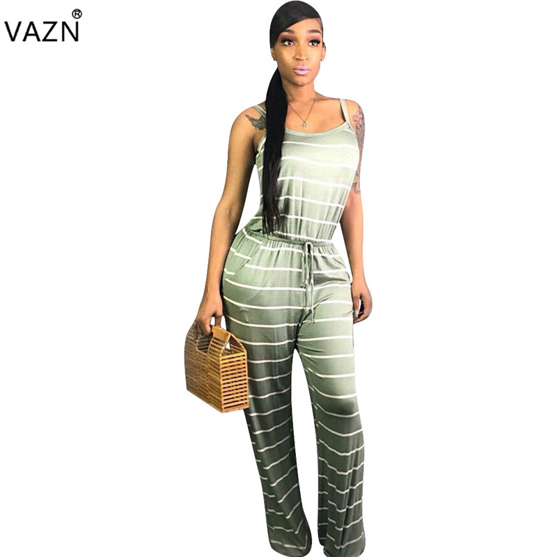 Sincere Vazn Hot Fashion Sexy Style 2019 Women Wide Leg Long Jumpsuit Striped 2 Color O-neck Sleeveless Lace Up Straight Romper Mnl9056 Jumpsuits
