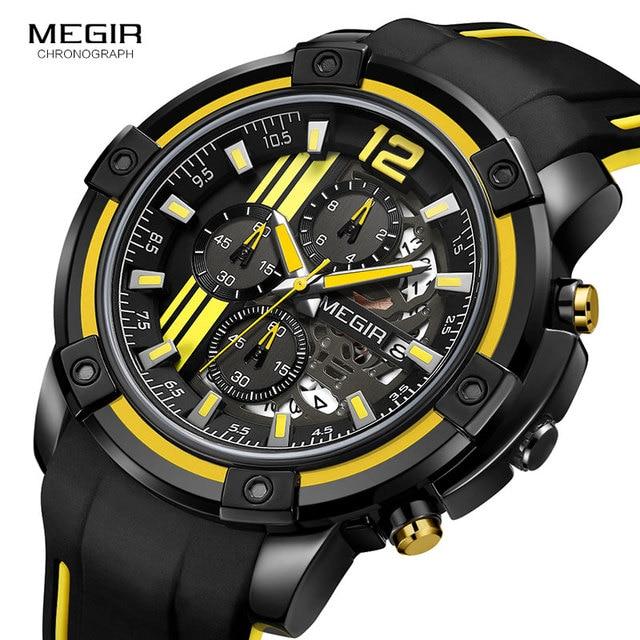 Megir Men's Black Silicone Strap Quartz Watches Chronograph Sports Wristwatch for Man 3atm Waterproof Luminous Hands 2097 Yellow 2