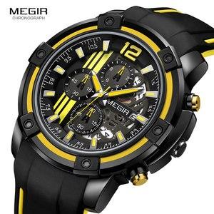 Image 2 - Megir мужские черные кварцевые часы с силиконовым ремешком, спортивные наручные часы с хронографом для мужчин 3 АТМ, водонепроницаемые светящиеся стрелки 2097 желтого цвета