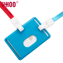 UHOO 6636 Two in one Vertical and Horizontal Work ID Card Holder with Lanyard PP Credit Card Business ID Name Badge Holders