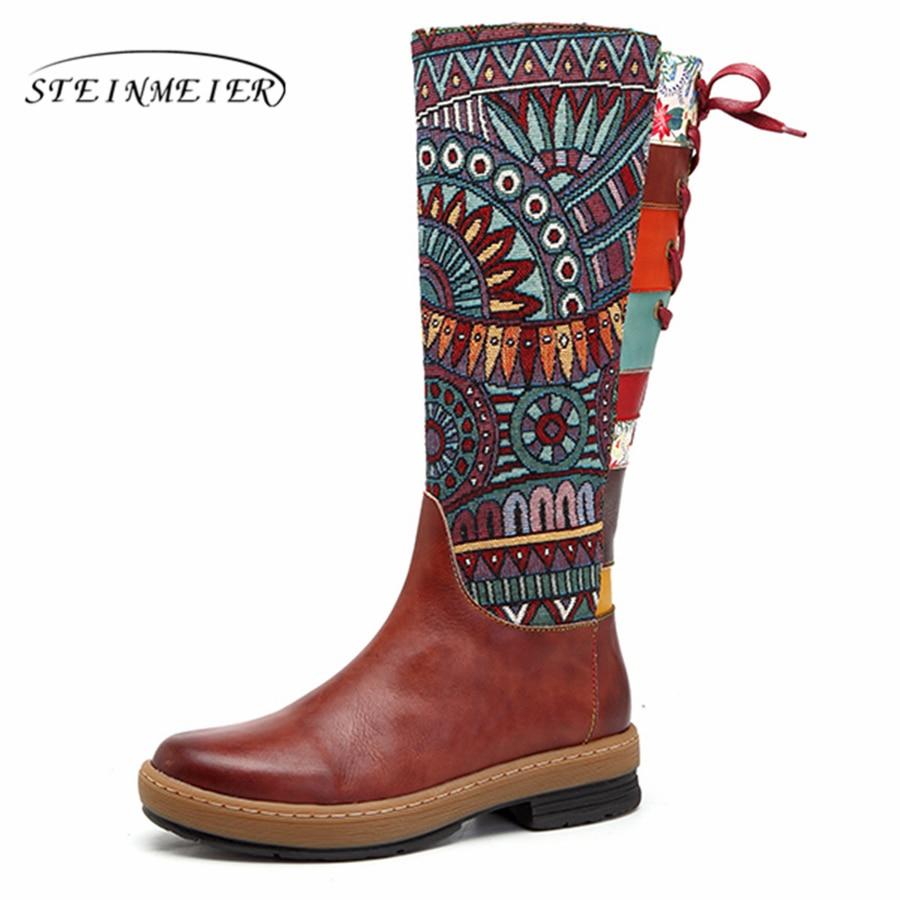 Femmes bottes d'hiver en cuir de vache véritable confortable qualité chaussures souples à la main bohème chaud bottes longues sur le genou botte 2019-in Bottes hautes from Chaussures    1