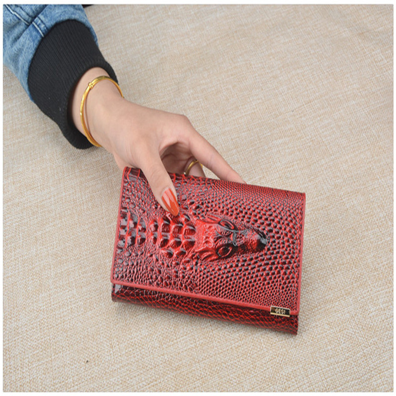 Women 39 s Wallet Handbag Money Coin Proket Card Holder Alligator 3D Crocodile Long Wallet Female Genuine Leather Purses for Women in Wallets from Luggage amp Bags