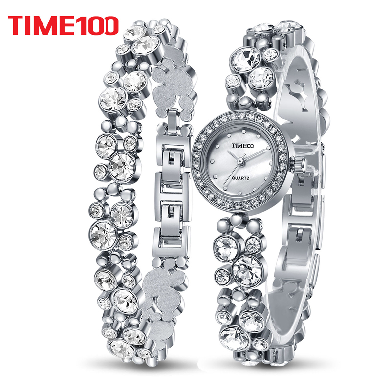 Time100 Women Bracelet Watches Fashion Quartz Watch Silver Diamond Shell Dial Ladies Wrist Watches For Women relogio feminino fashion round crystal dial quartz bracelet watch for women purple silver 1 x lr626